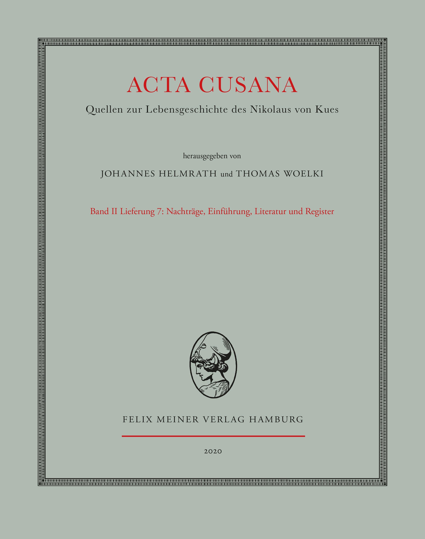 Acta Cusana: Band II, Lieferung 7